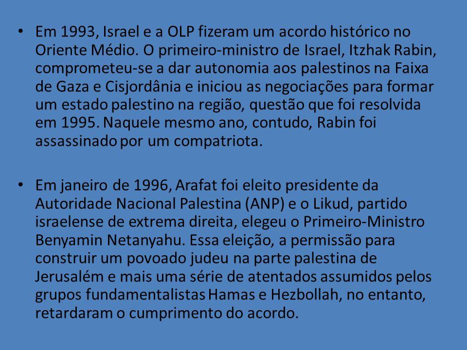 Em 1993, Israel e a OLP fizeram um acordo histórico no Oriente Médio