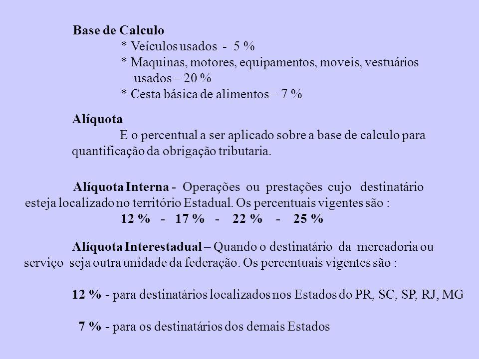 Base de Calculo * Veículos usados - 5 % * Maquinas, motores, equipamentos, moveis, vestuários. usados – 20 %