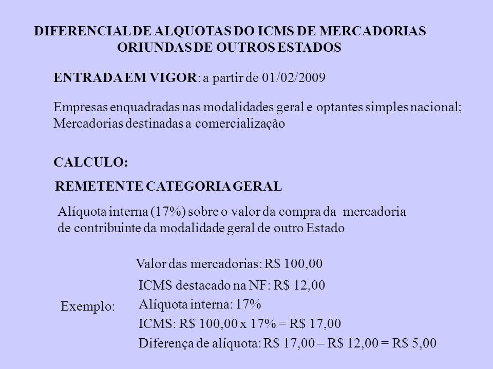 DIFERENCIAL DE ALQUOTAS DO ICMS DE MERCADORIAS