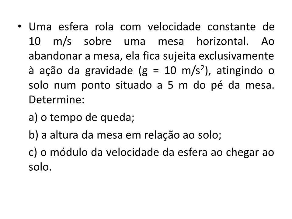 Uma esfera rola com velocidade constante de 10 m/s sobre uma mesa horizontal. Ao abandonar a mesa, ela fica sujeita exclusivamente à ação da gravidade (g = 10 m/s2), atingindo o solo num ponto situado a 5 m do pé da mesa. Determine: