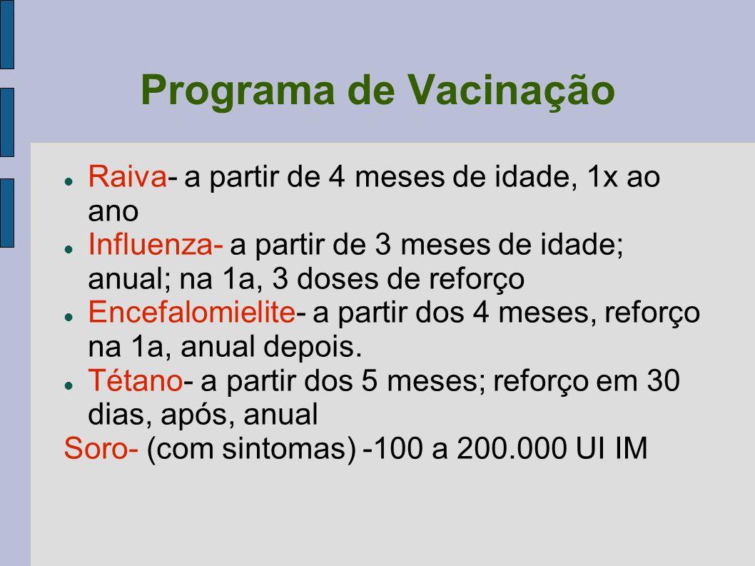 Programa de Vacinação Raiva- a partir de 4 meses de idade, 1x ao ano