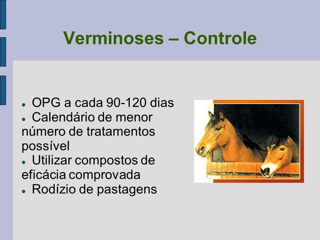 Verminoses – Controle OPG a cada 90-120 dias Calendário de menor