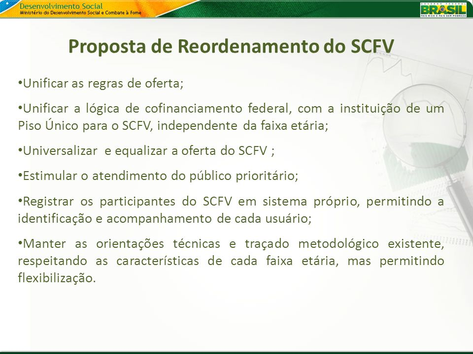 Proposta de Reordenamento do SCFV
