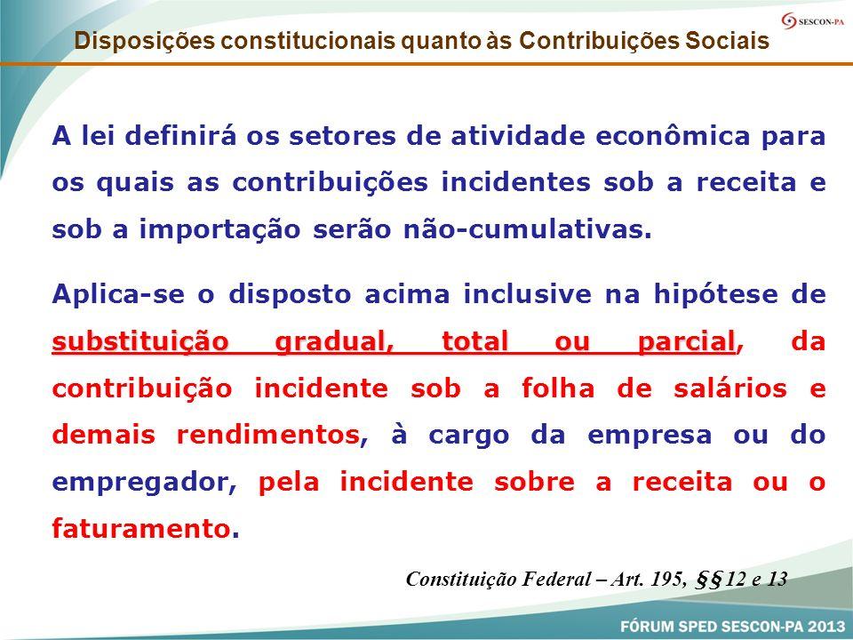 Disposições constitucionais quanto às Contribuições Sociais