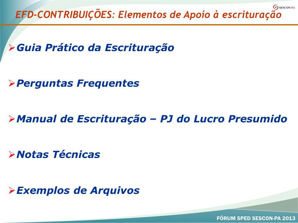 EFD-CONTRIBUIÇÕES: Elementos de Apoio à escrituração