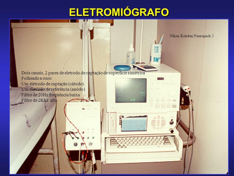 ELETROMIÓGRAFO Nihon Kohden Neuropack 2. Dois canais, 2 pares de eletrodo de captação de superfície simétrica.