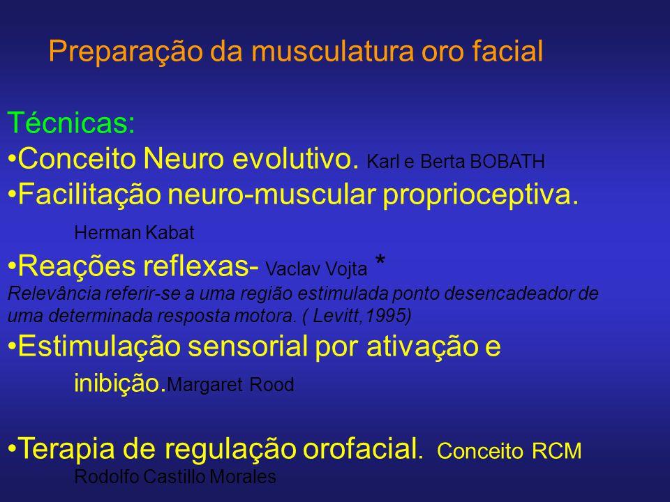 Preparação da musculatura oro facial Técnicas: