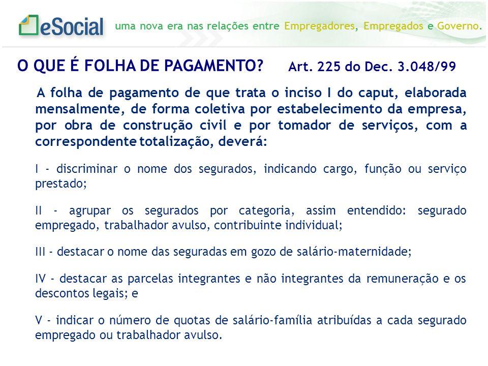 O QUE É FOLHA DE PAGAMENTO Art. 225 do Dec. 3.048/99