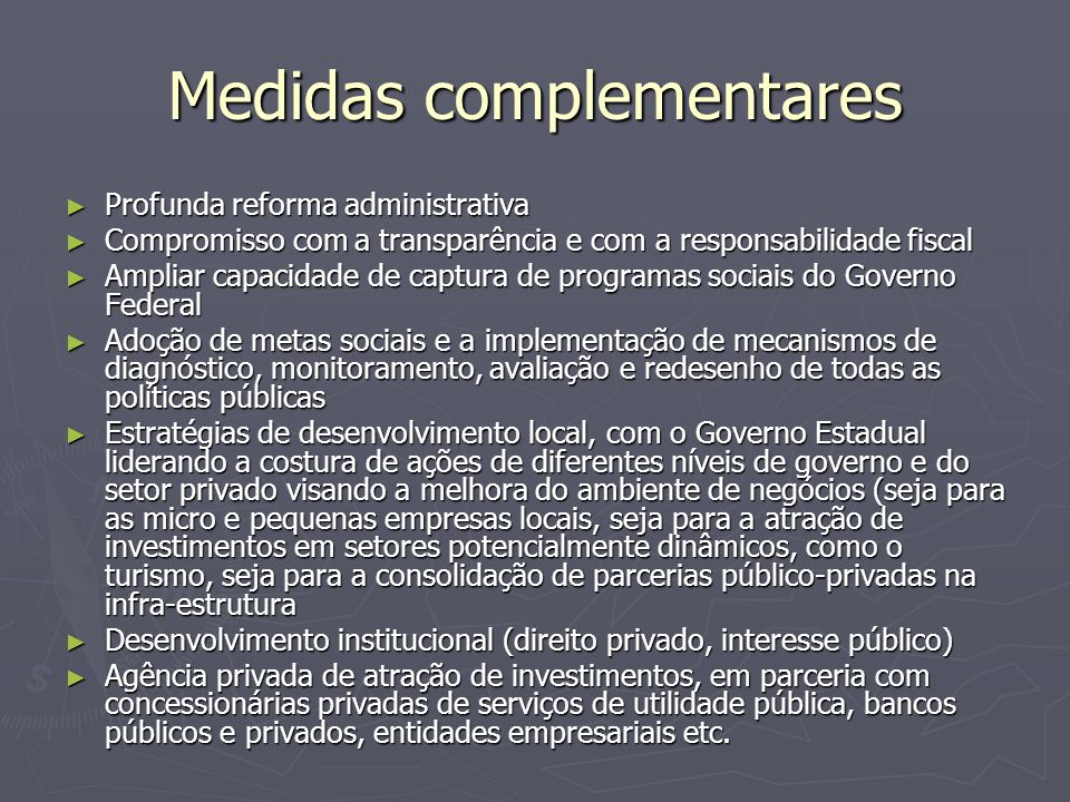 Medidas complementares