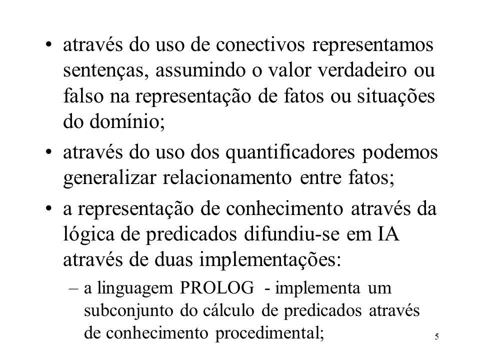 através do uso de conectivos representamos sentenças, assumindo o valor verdadeiro ou falso na representação de fatos ou situações do domínio;