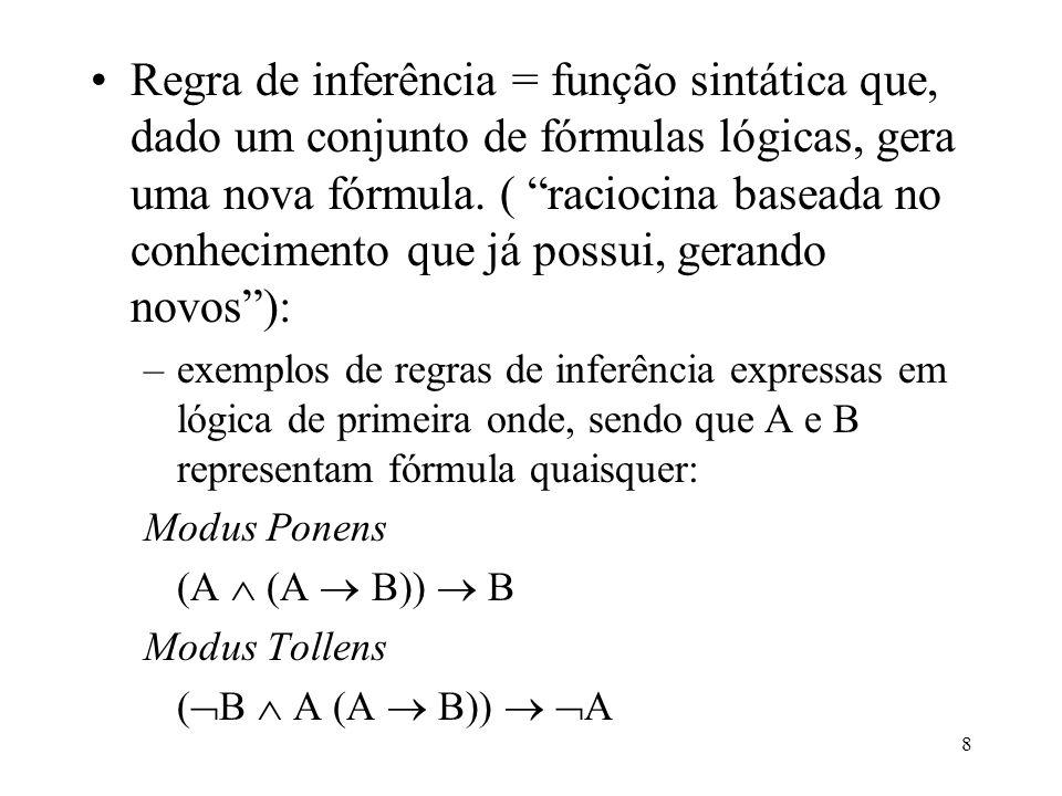 Regra de inferência = função sintática que, dado um conjunto de fórmulas lógicas, gera uma nova fórmula. ( raciocina baseada no conhecimento que já possui, gerando novos ):