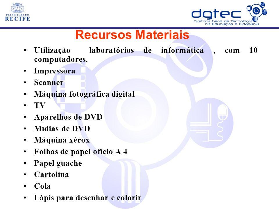 Recursos Materiais Utilização laboratórios de informática , com 10 computadores. Impressora. Scanner.