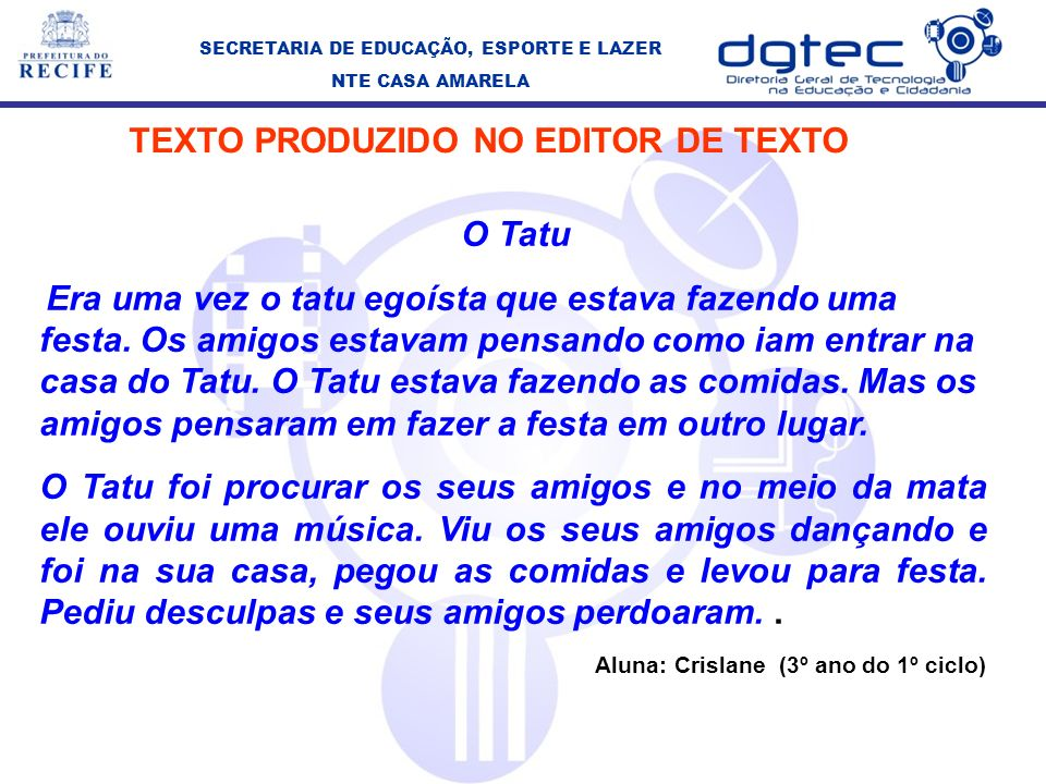 TEXTO PRODUZIDO NO EDITOR DE TEXTO