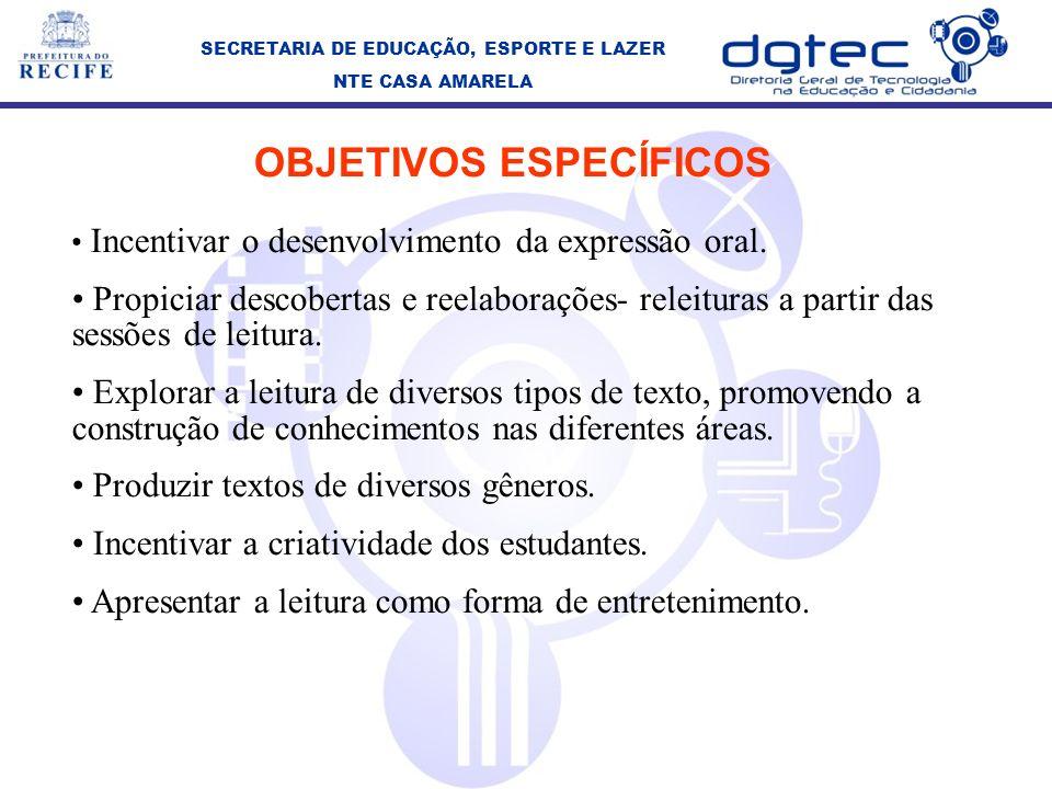 SECRETARIA DE EDUCAÇÃO, ESPORTE E LAZER OBJETIVOS ESPECÍFICOS