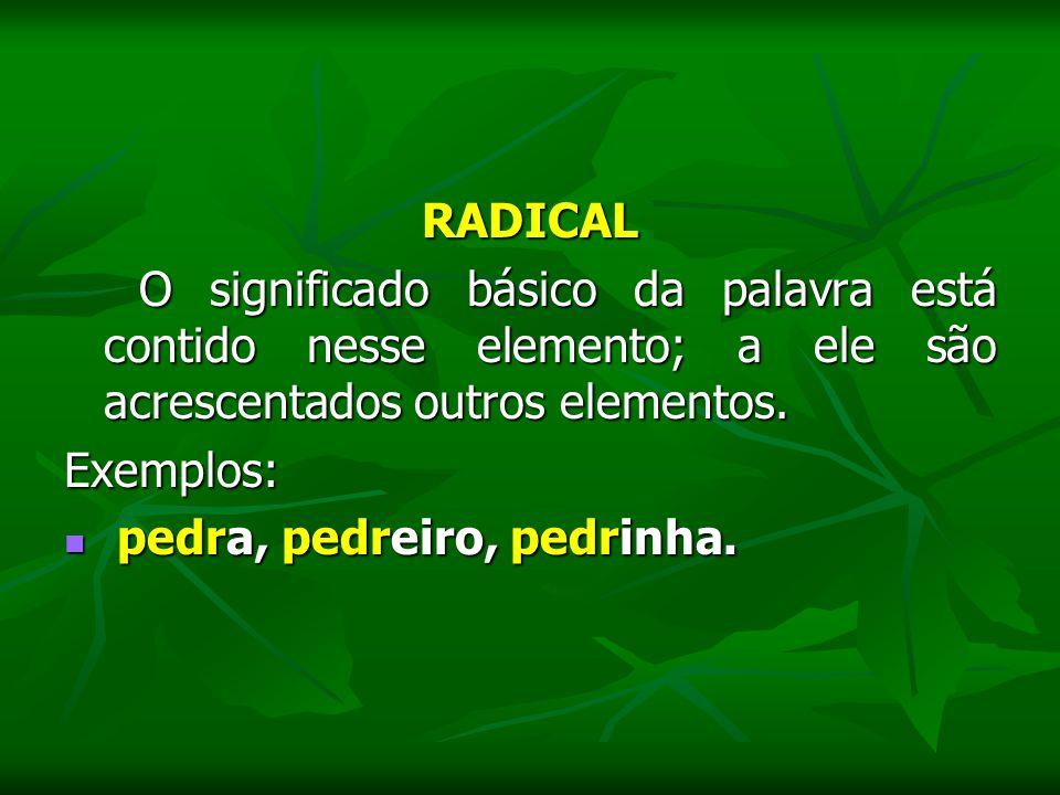 RADICAL O significado básico da palavra está contido nesse elemento; a ele são acrescentados outros elementos.