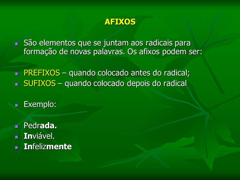 AFIXOS São elementos que se juntam aos radicais para formação de novas palavras. Os afixos podem ser: