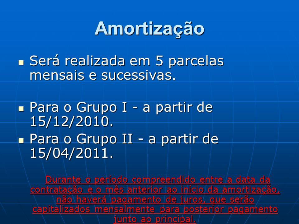 Amortização Será realizada em 5 parcelas mensais e sucessivas.