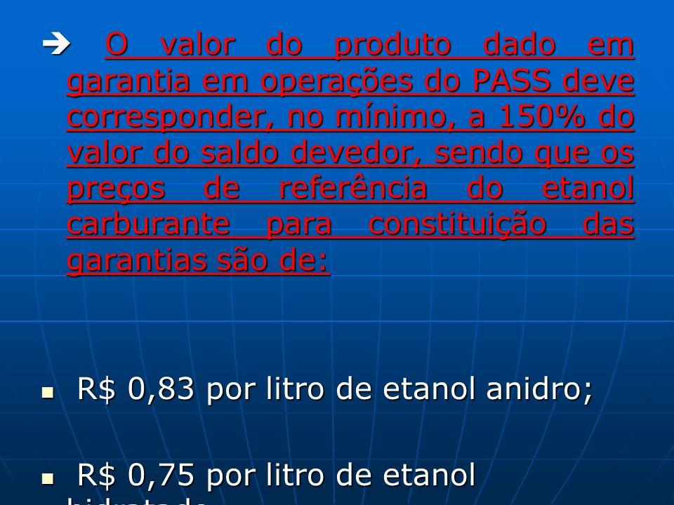  O valor do produto dado em garantia em operações do PASS deve corresponder, no mínimo, a 150% do valor do saldo devedor, sendo que os preços de referência do etanol carburante para constituição das garantias são de: