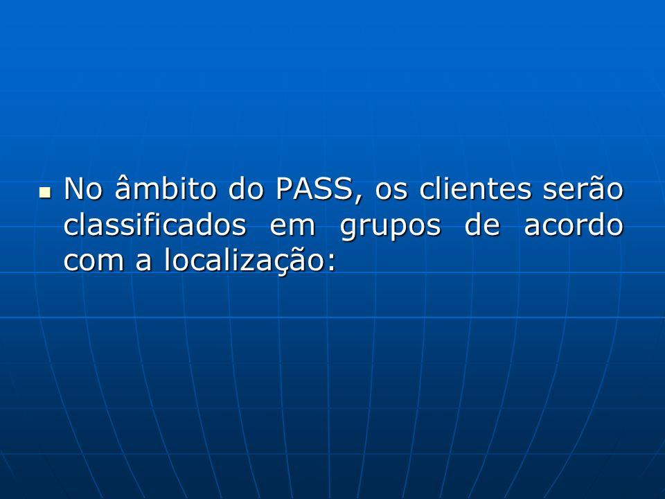 No âmbito do PASS, os clientes serão classificados em grupos de acordo com a localização: