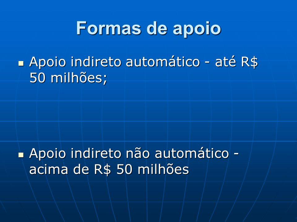 Formas de apoio Apoio indireto automático - até R$ 50 milhões;