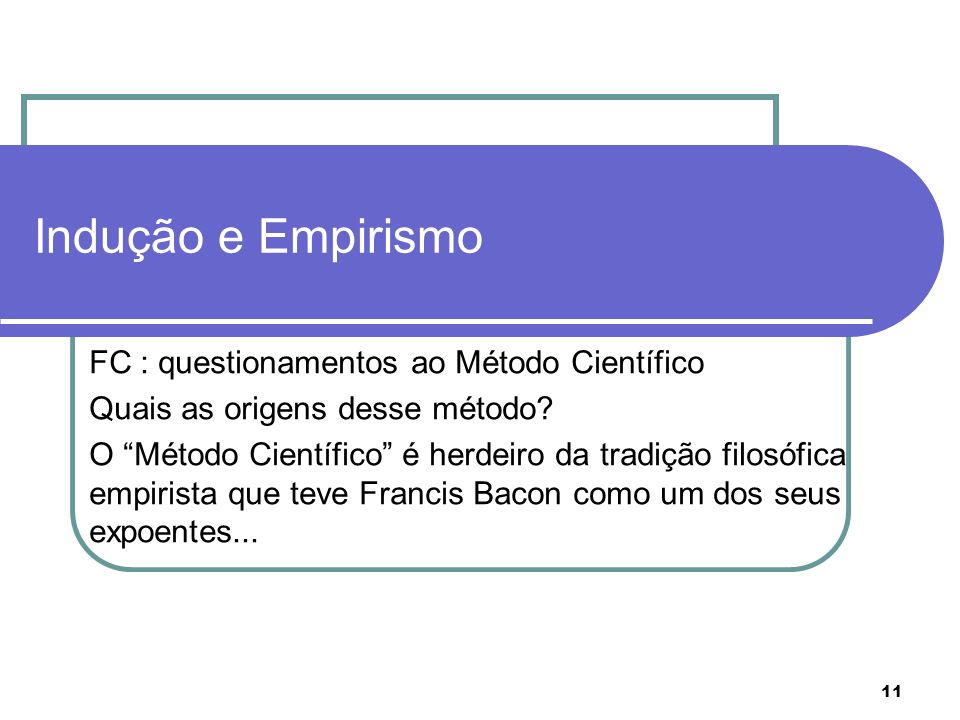 Indução e Empirismo FC : questionamentos ao Método Científico