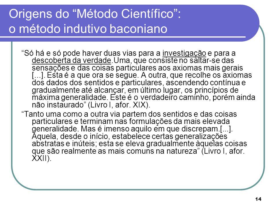 Origens do Método Científico : o método indutivo baconiano