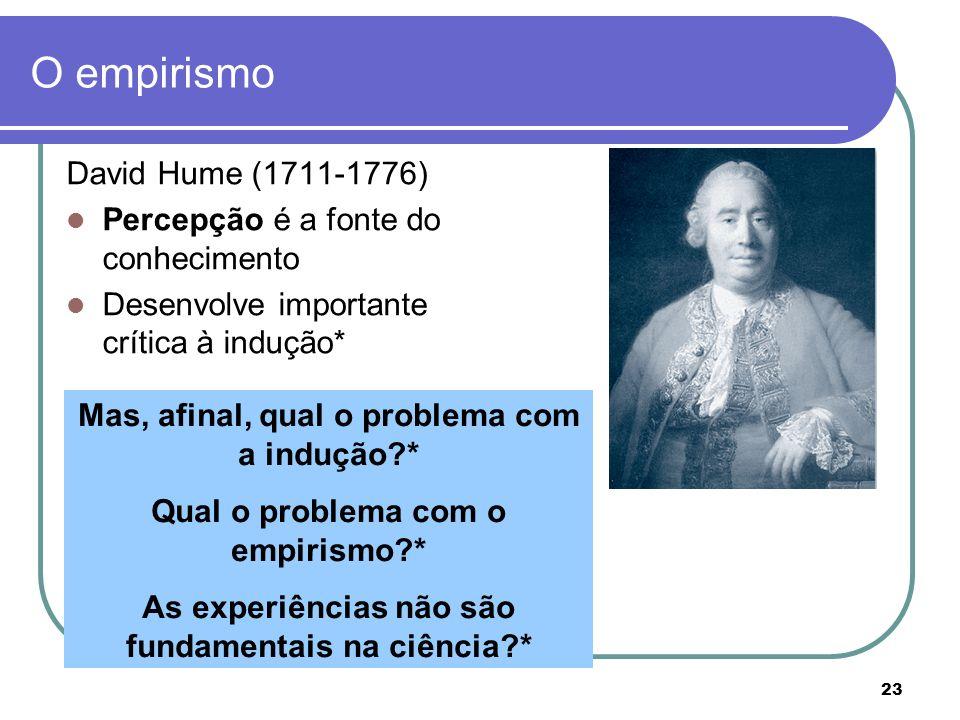 O empirismo David Hume (1711-1776) Percepção é a fonte do conhecimento