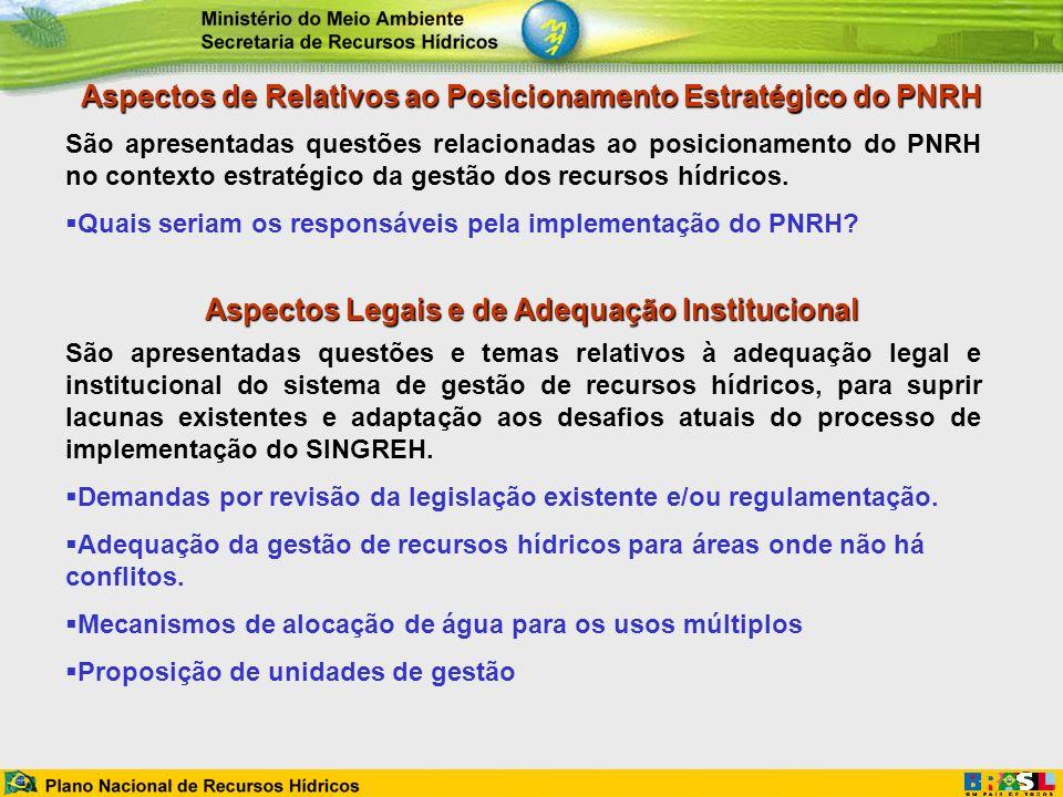 Aspectos de Relativos ao Posicionamento Estratégico do PNRH