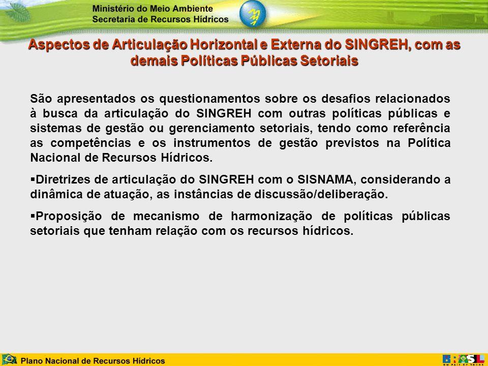 Aspectos de Articulação Horizontal e Externa do SINGREH, com as demais Políticas Públicas Setoriais