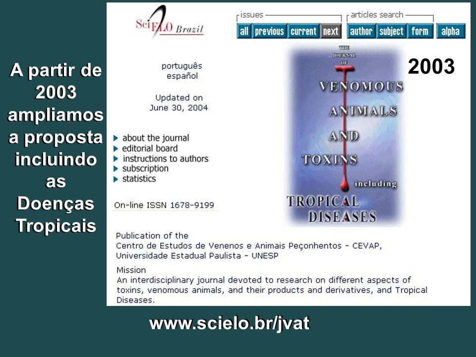 A partir de 2003 ampliamos a proposta incluindo as Doenças Tropicais