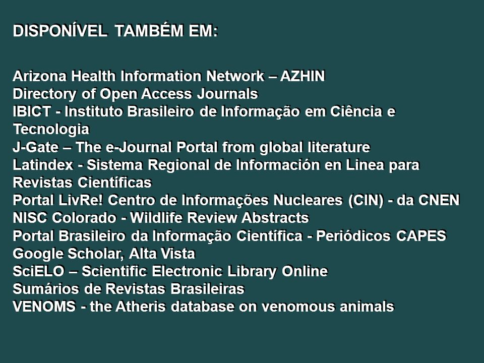 DISPONÍVEL TAMBÉM EM: Arizona Health Information Network – AZHIN