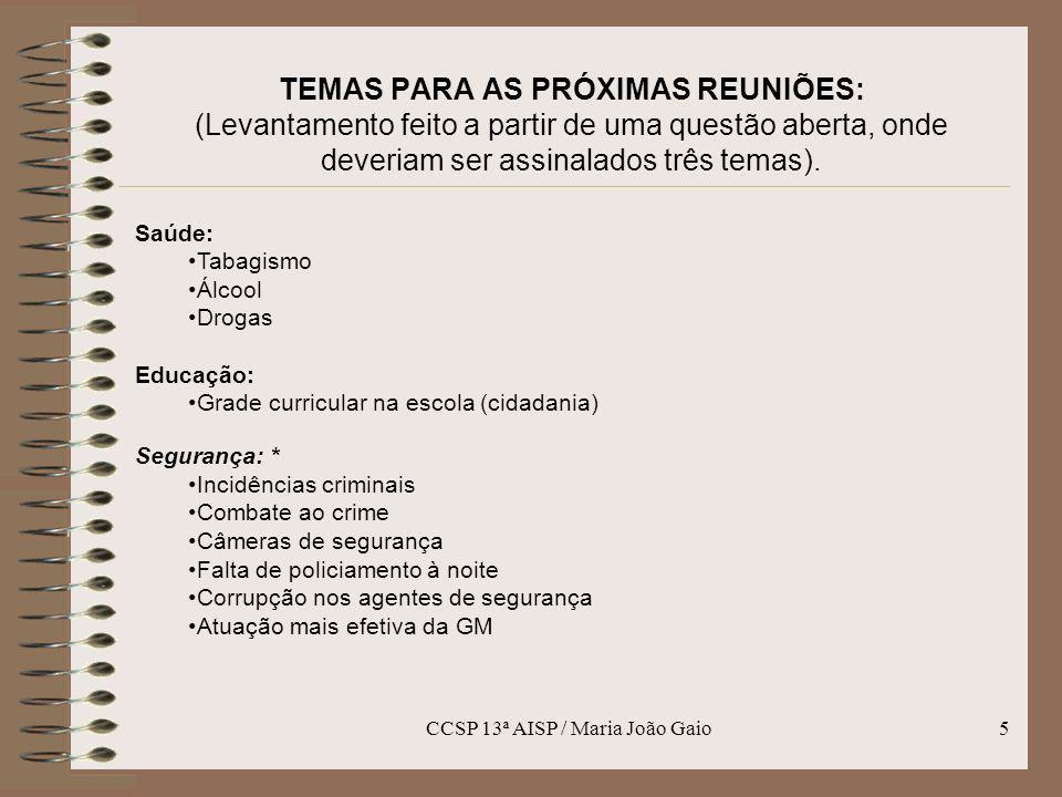 CCSP 13ª AISP / Maria João Gaio
