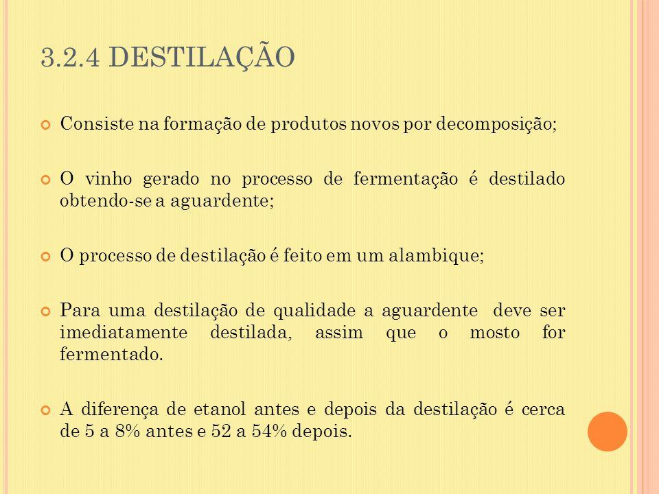 3.2.4 DESTILAÇÃO Consiste na formação de produtos novos por decomposição;