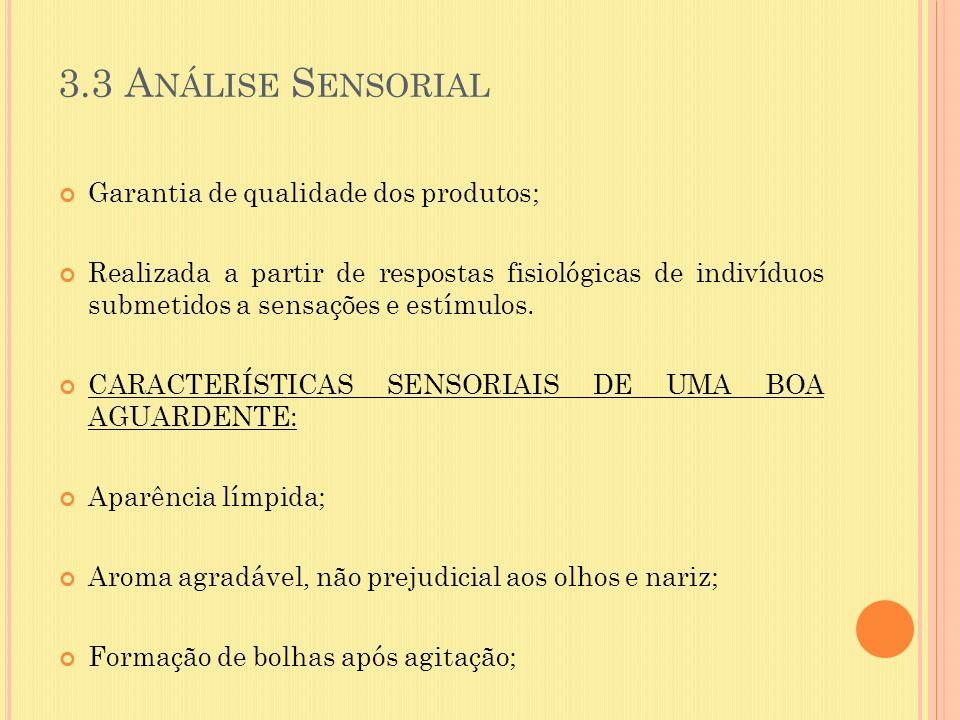 3.3 Análise Sensorial Garantia de qualidade dos produtos;