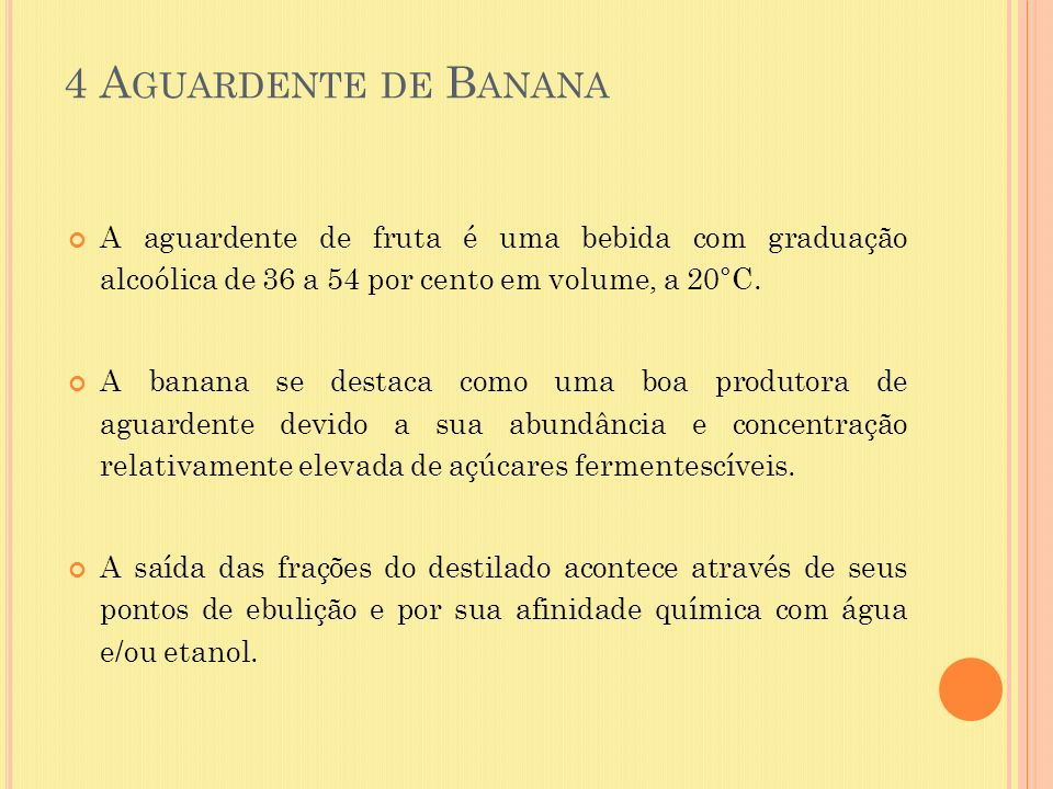 4 Aguardente de Banana A aguardente de fruta é uma bebida com graduação alcoólica de 36 a 54 por cento em volume, a 20°C.