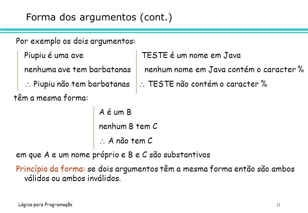 Forma dos argumentos (cont.)
