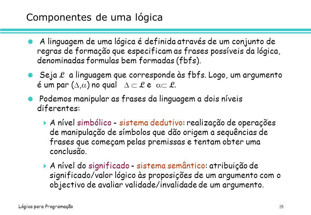 Componentes de uma lógica