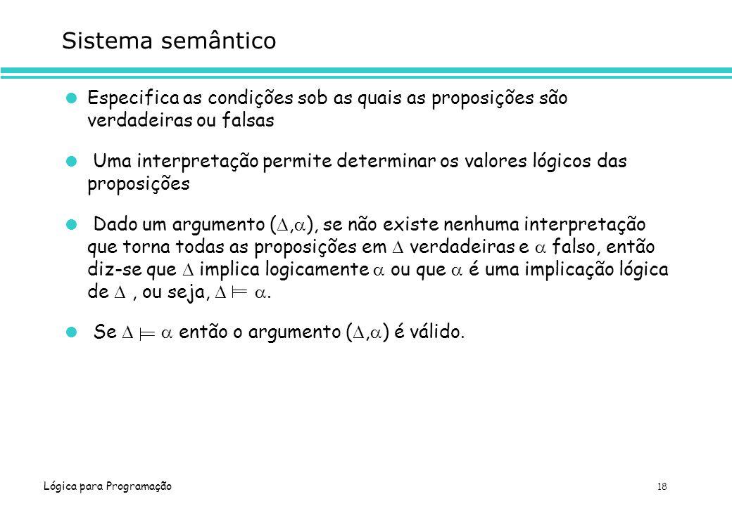 Sistema semântico Especifica as condições sob as quais as proposições são verdadeiras ou falsas.