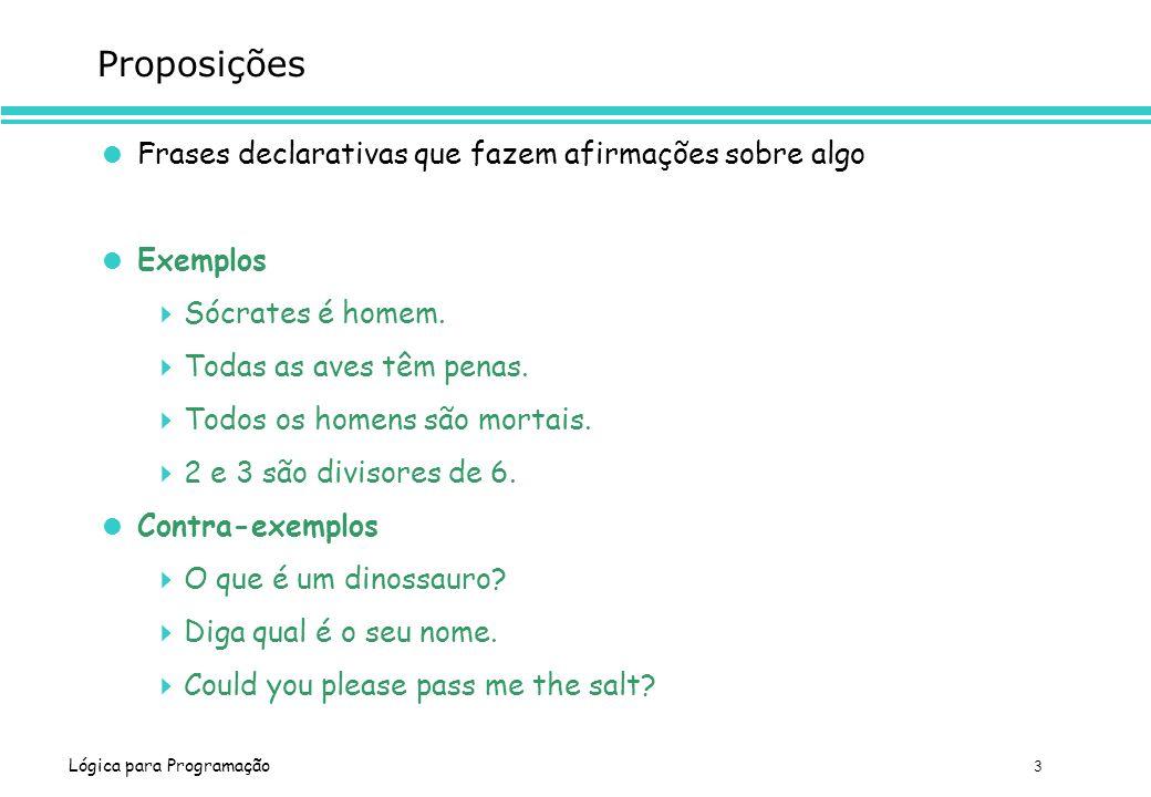 Proposições Frases declarativas que fazem afirmações sobre algo