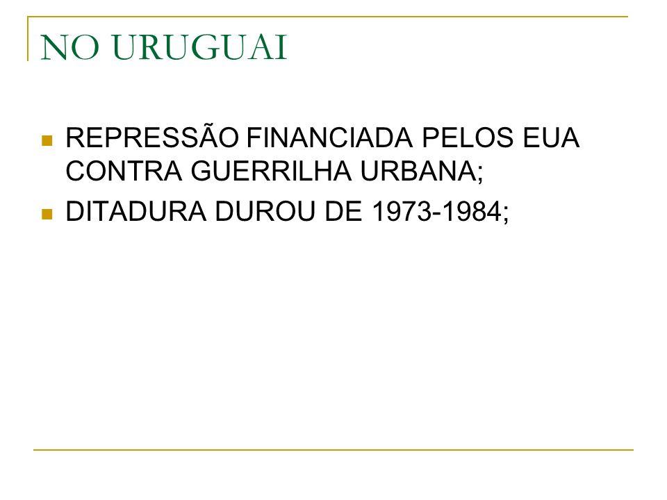 NO URUGUAI REPRESSÃO FINANCIADA PELOS EUA CONTRA GUERRILHA URBANA;