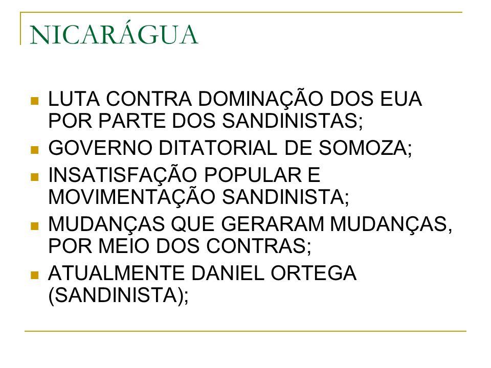 NICARÁGUA LUTA CONTRA DOMINAÇÃO DOS EUA POR PARTE DOS SANDINISTAS;
