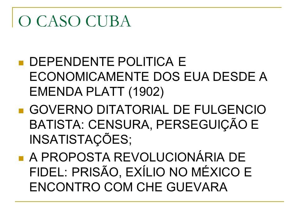 O CASO CUBA DEPENDENTE POLITICA E ECONOMICAMENTE DOS EUA DESDE A EMENDA PLATT (1902)