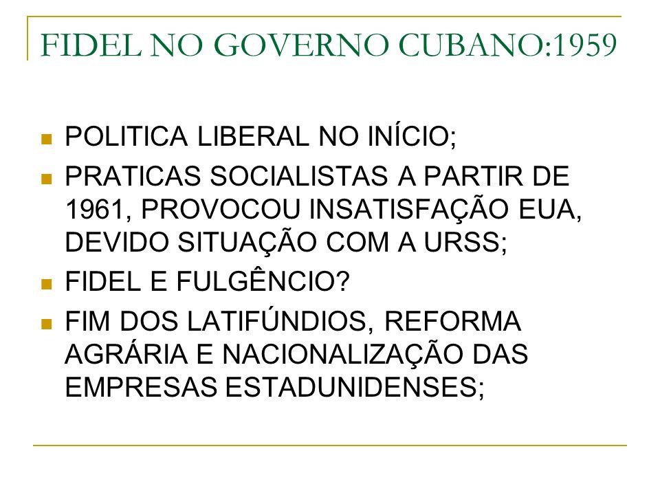 FIDEL NO GOVERNO CUBANO:1959