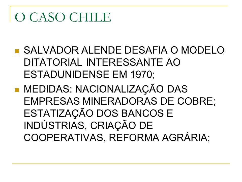 O CASO CHILE SALVADOR ALENDE DESAFIA O MODELO DITATORIAL INTERESSANTE AO ESTADUNIDENSE EM 1970;