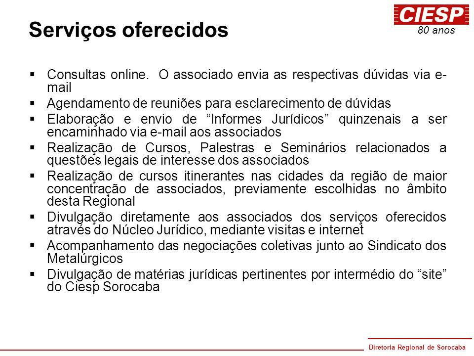 Serviços oferecidos Consultas online. O associado envia as respectivas dúvidas via e-mail. Agendamento de reuniões para esclarecimento de dúvidas.
