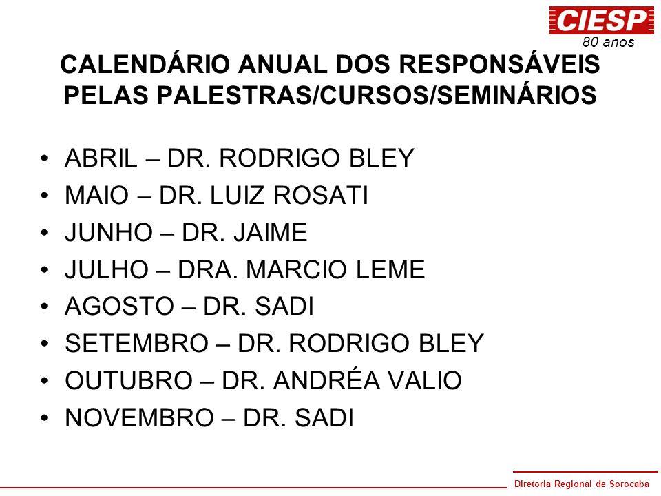 CALENDÁRIO ANUAL DOS RESPONSÁVEIS PELAS PALESTRAS/CURSOS/SEMINÁRIOS