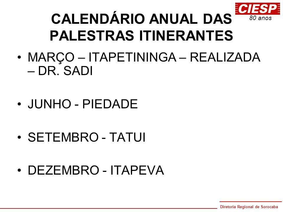 CALENDÁRIO ANUAL DAS PALESTRAS ITINERANTES