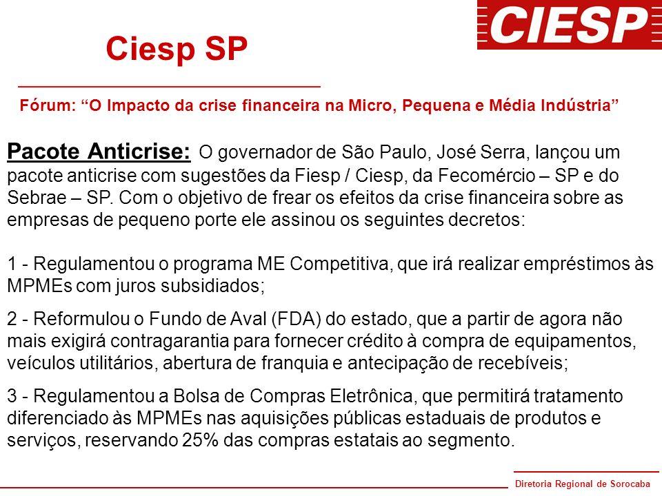 Ciesp SP Fórum: O Impacto da crise financeira na Micro, Pequena e Média Indústria