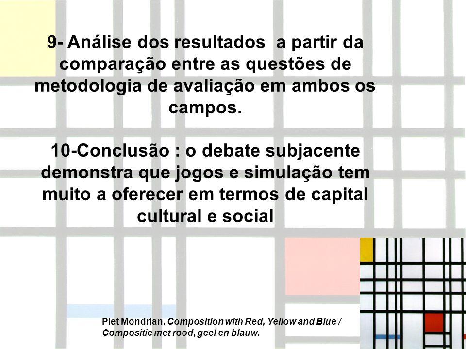 9- Análise dos resultados a partir da comparação entre as questões de metodologia de avaliação em ambos os campos.