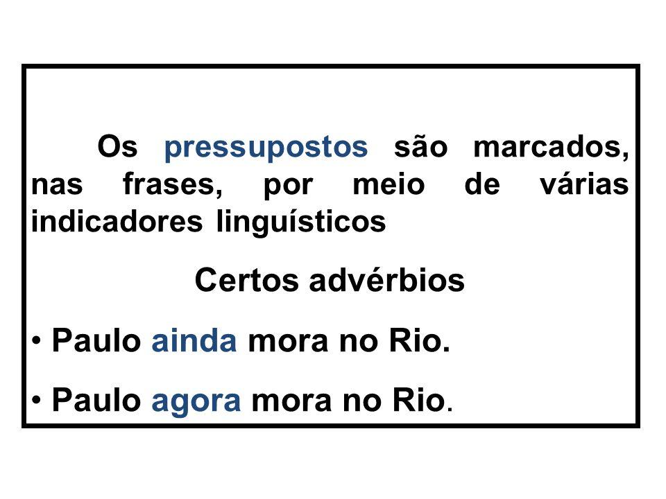 Certos advérbios Paulo ainda mora no Rio. Paulo agora mora no Rio.